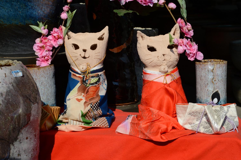 2019年益子のひな巡り陶器の猫雛