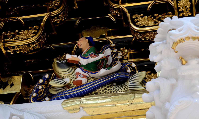日光東照宮陽明門の琴高仙人彫刻