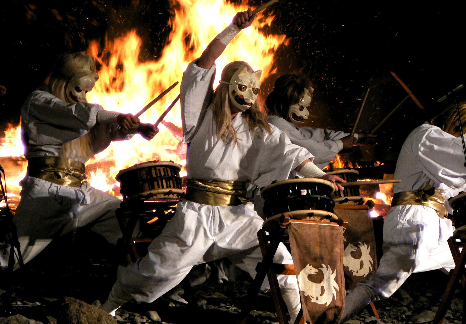 那須殺生石の御神火祭りの白面金毛九尾太鼓