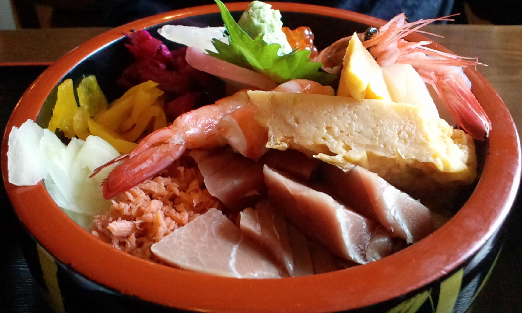 大田原市・錦鮨の海の三福丼の海鮮チラシ